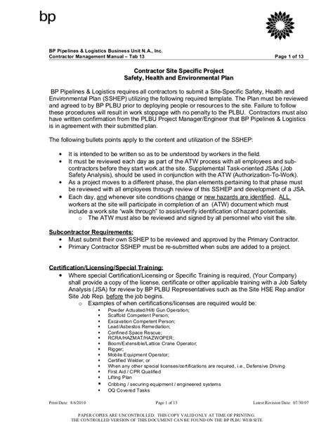 Site Specific Safety Health And Environmental Plan Construction Site Specific Safety Plan Template
