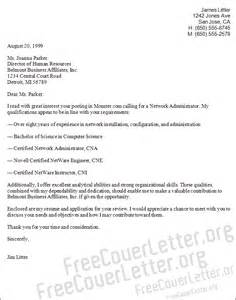 Networking Cover Letter by Network Administrator Cover Letter Sle