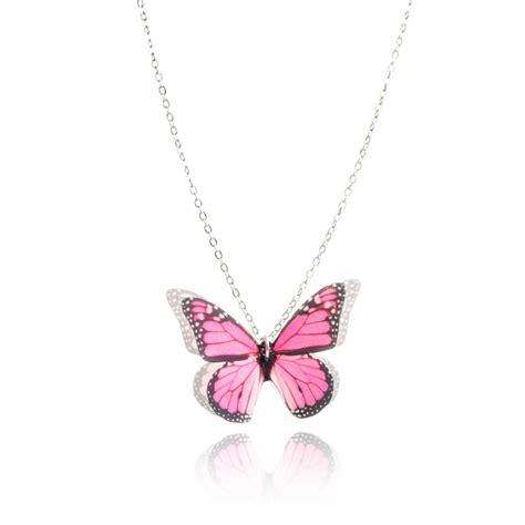 pink butterfly necklace joli joli jewellery