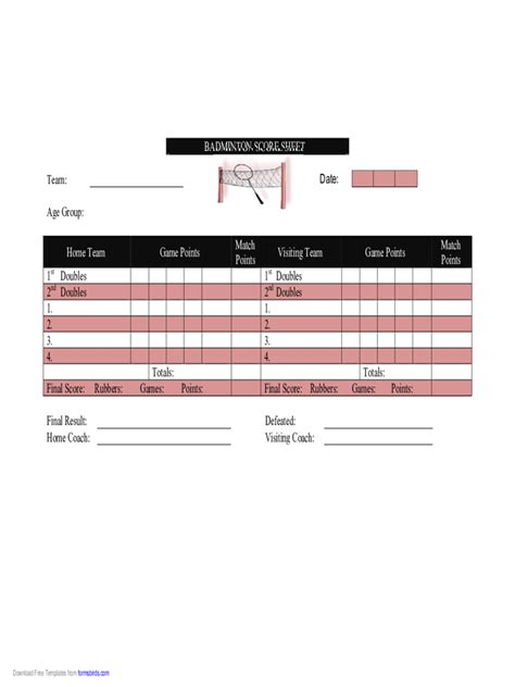 Badminton Score Card Template by More Score Sheets 35 Free Templates In Pdf Word Excel