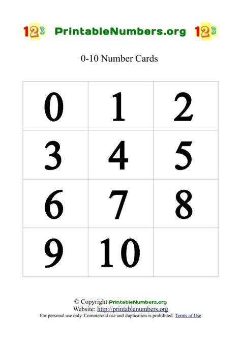 printable pictures of numbers 1 10 printable number card 1 10