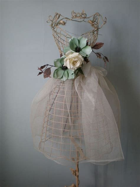 mannequin large antique cream wire shabby chic 145cm tall