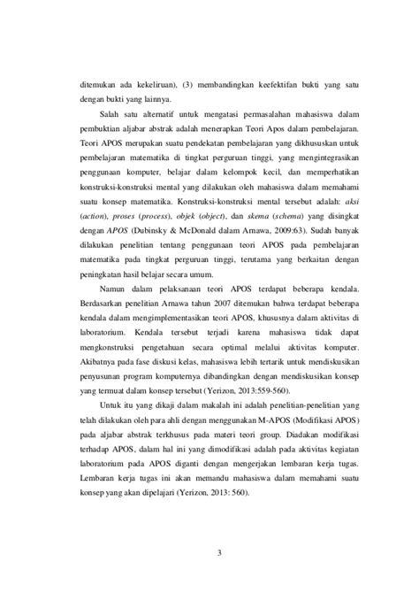 Aljabar Dan Teori Berhitung 1 Untuk Sltp kemuan mahasiswa dalam memvalidasi bukti pada aljabar abstrak mela
