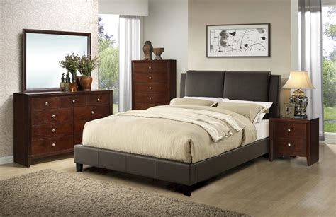 brown bedroom set cal king size bed dresser mirror nightstand modern 4pc