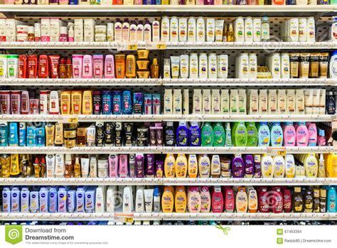 Eyeliner Hypermart shoo bottles for sale on supermarket stand editorial