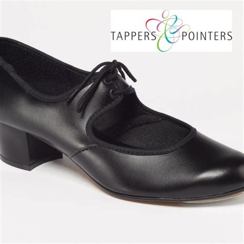tappers and pointers cuban heel pu tap shoes black white