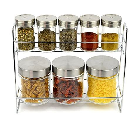 Small Spice Rack Set Premium 9 Glass Canister And Spice Rack Set 3