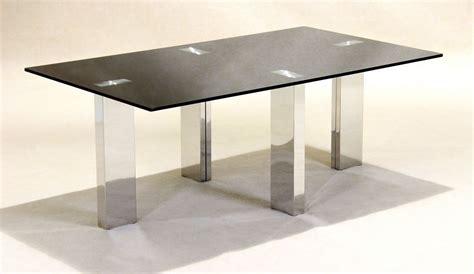 black glass coffee table with stainless steel legs
