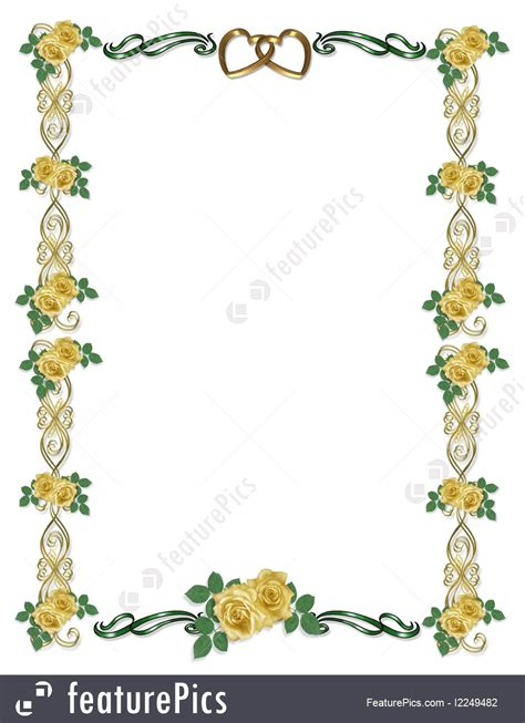 Wedding Invitations With Yellow Border by Templates Yellow Roses Wedding Border Stock
