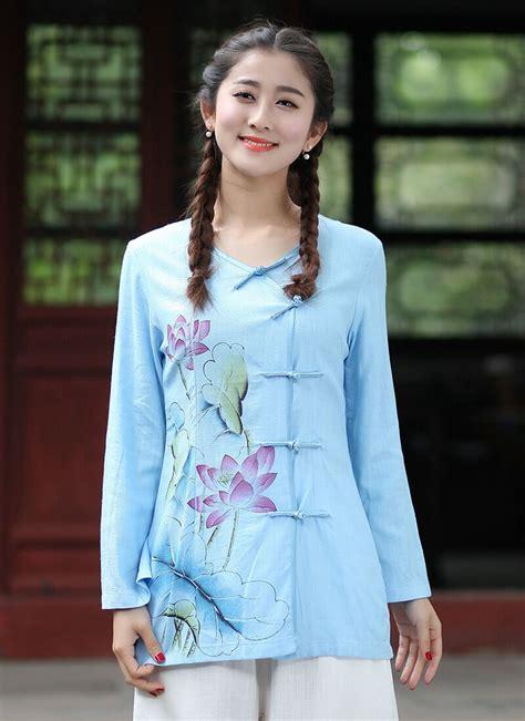 Fashion Blouse Hiraku Tosca Best Seller top selling light blue cotton linen shirt tops classic style blouse size s m l xl