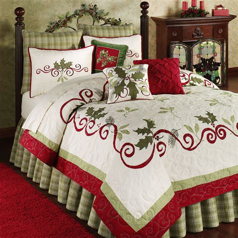 christmas bedding sets holiday garland holly quilt bedding garlands christmas