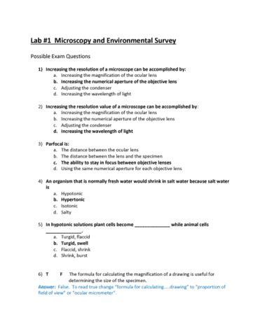 biography questions and answers biol107 exam notes biology 107 complete overview oneclass