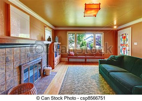 Brown Living Room Clipart Stock Photography Of Brown Cozy Living Room With Large