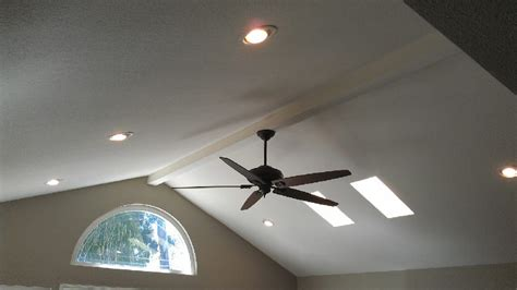 ceiling fans for sloped ceilings ceiling fan and 6 quot can lights on vaulted ceiling yelp