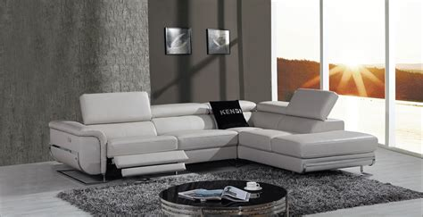 Grey Leather Reclining Sectional Divani Casa E9054 Modern Grey Leather Sectional Sofa W