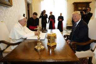 trump s desk trump meets the pope at the vatican for a private audience