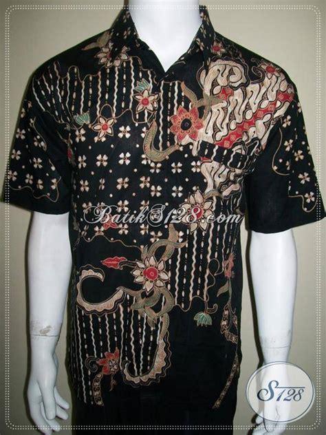 Kemeja Batik Mza03 Lengan Pendek Modern Halus Murah Grosir kemeja batik pria murah batik tulis ukuran besar large warna hitam pekat ld274t l toko