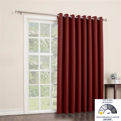 26 inch curtains sun zero barrow extra wide black out patio curtain panel