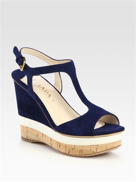prada wedge sandals prada suede t wedge sandals in blue navy lyst
