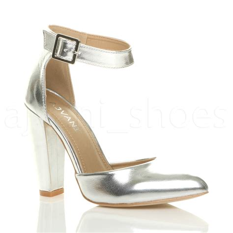 high block heel shoes womens high block heel ankle buckle pointed