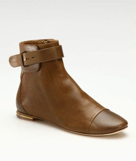 chlo 233 flat ankle boots in brown lyst