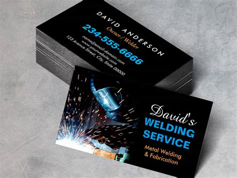 welding business card templates free professional metal welding fabrication contractor pack of