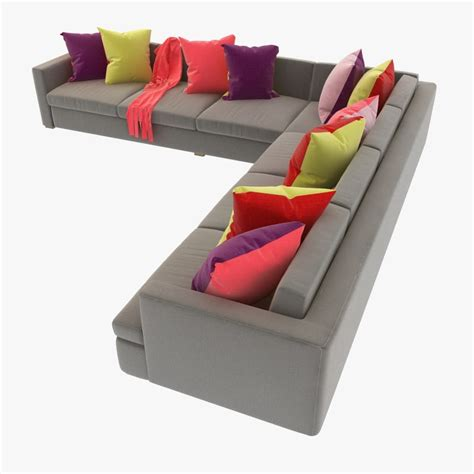 sectional sofa pillows 3d sofa pillows sectional model