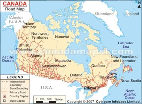 driving map of usa and canada canada map road
