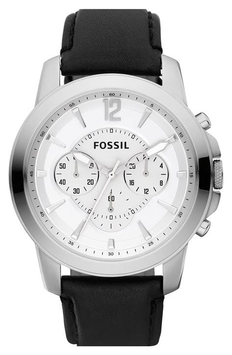 Fossil Fs0111 Silver Black fossil grant leather chronograph in black for