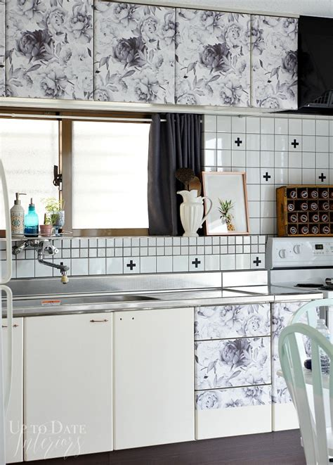 Removable Wallpaper For Kitchen Cabinets by One Room Challenge Week 5 Floral Cabinets Up To Date