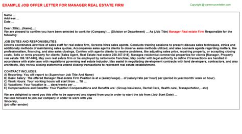 Offer Letter Firm Manager Real Estate Firm Offer Letter Sle