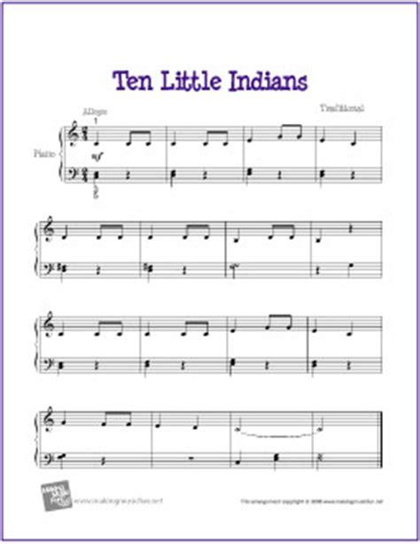 ten little indians   free easy piano sheet music