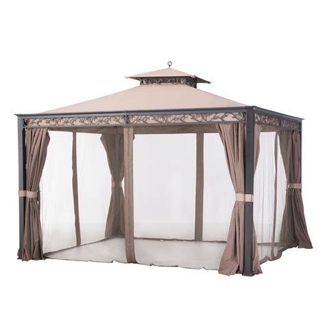 sunjoy gazebo sunjoy 10 ft x 12 ft brown steel soft top gazebo