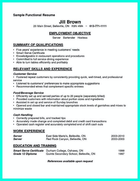 Cocktail Waitress Resume by Cocktail Server Resume Skills To Convince Restaurants Or Caf 233