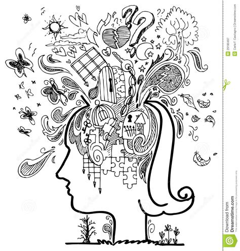 doodle sketch profile confusion stock vector image of confusion