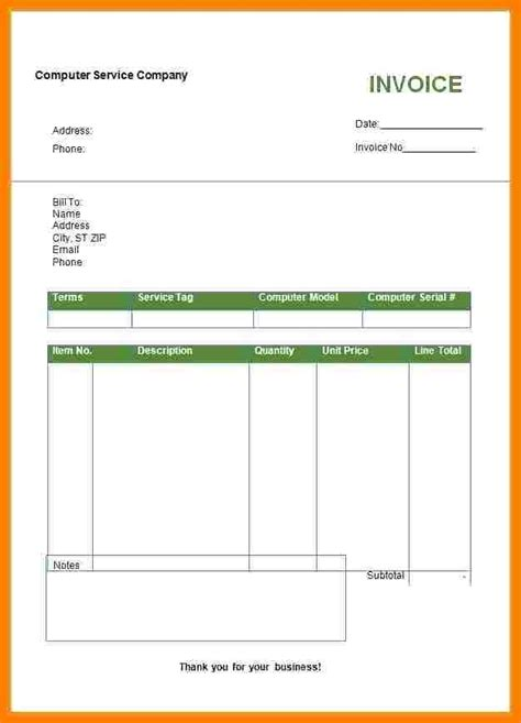 8 Blank Invoice Doc Sles 6 bill format in word doc sle travel bill