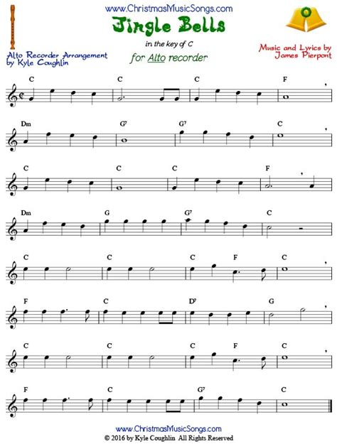 printable version of jingle bells jingle bells for recorder free sheet music