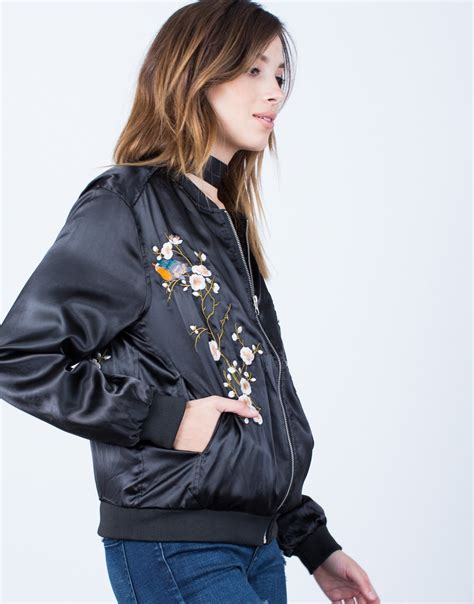 Flowries Bomber Jaket floral embroidered satin bomber jacket black silky satin jacket floral bomber jacket 2020ave