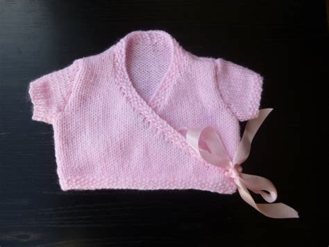 Handmade Baby Knitwear - handmade knitted baby ballet style sleeved wrap