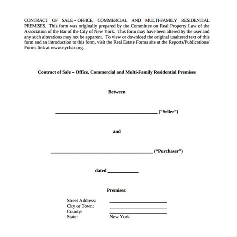 8 Sales Contract Templates Sle Templates Simple Contract Template Pdf