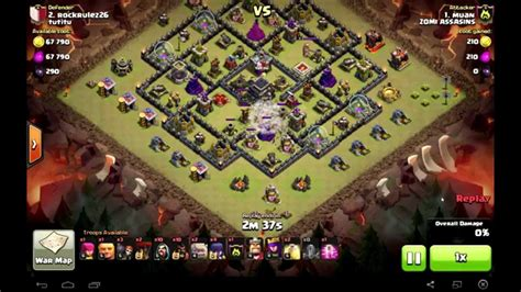 earthquake coc clash of clans th9 hogowiwi attack 3 star clan wars