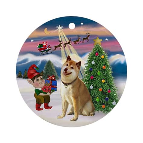 shiba inu christmas tree ornament round by prettyornaments