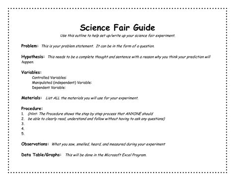 template for science fair project project science fair project template