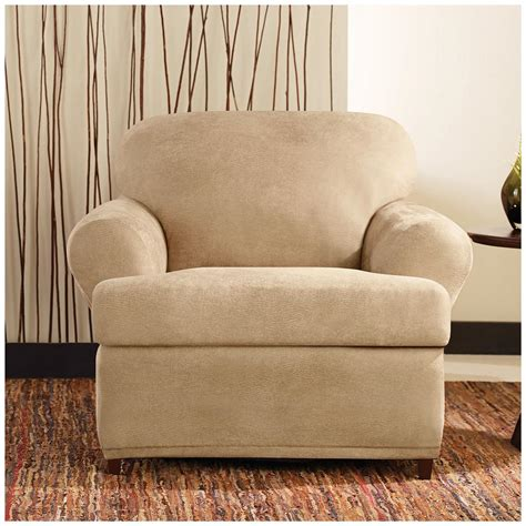 leather recliner slipcover sure fit 174 stretch leather 2 pc t chair slipcover 581250