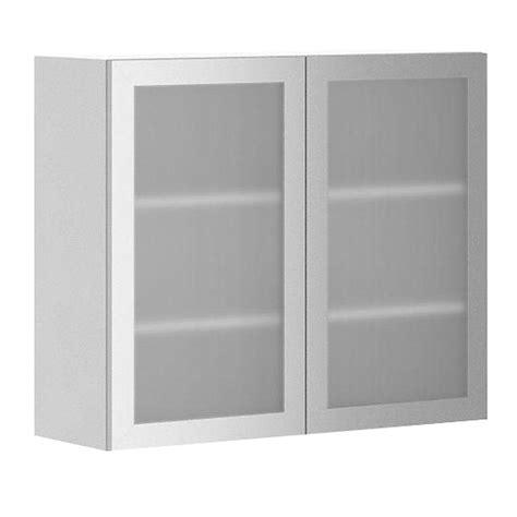 White Cabinet Glass Doors Fabritec Ready To Assemble 36x30x12 5 In Copenhagen Wall Cabinet In White Melamine And Glass