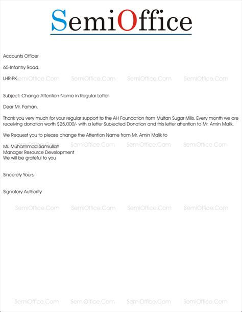 Business Letter Attn request letter for change attention name