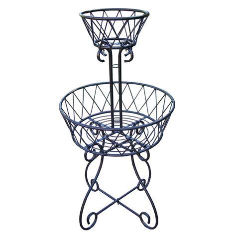 Bel Basket Bk 19 2 tier basket metal planter hd5990 bk the home depot