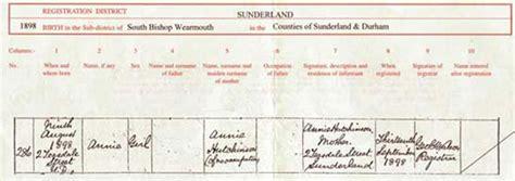 full birth certificate sunderland my grandparents hills and hutchinson