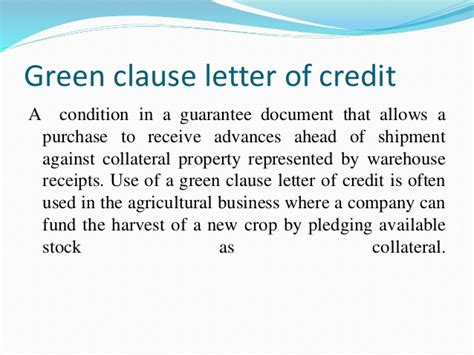 Letter Of Credit Clause Different Means Of Remittance