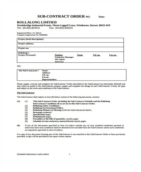 Plumbing Contract Forms by Contractor Work Order Form Contractor Work Order Forms